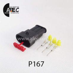 Автомобильный разъём герметичный штыревой 3-х контактный аналог AMP TE 282105-1 серии SuperSeaL 1,5