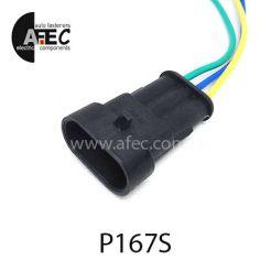 Автомобильный разъём герметичный штыревой 3-х контактный аналог AMP TE 282105-1 серии SuperSeaL 1,5 с проводом