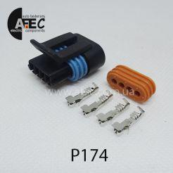 Автомобильный разъём герметичный гнездовой 4-х контактный аналог Delphi  12162189 12162188 12162190 серии 1,5мм для датчик регулятора холостого хода ВАЗ