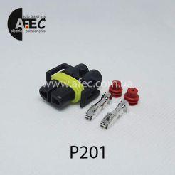 Автомобильный разъём герметичный гнездовой 2-х контактный аналог Delphi 12124817 серии 2.8мм для ламп H11