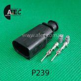 Автомобильный разъём герметичный штыревовой 2-х контактный аналог VAG  1J0973802 серии 1,2мм