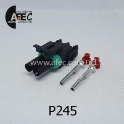 Автомобильный разъём герметичный гнездовой 2-х контактный аналог Delphi 12015792 WEATHER-PACK серии 2,5мм