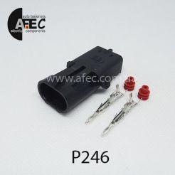 Автомобильный разъём герметичный штыревой 2-х контактный аналог Delphi 12010973 WEATHER-PACK серии 2,5мм