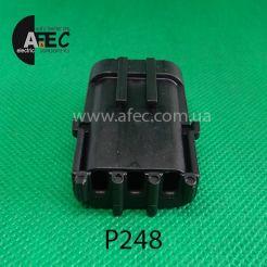 Автомобильный разъём герметичный штыревой 3-х контактный аналог Delphi 12010717 WEATHER-PACK серии 2,5мм