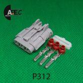 Автомобильный разъём герметичный гнездовой 3-х контактный серии 2,0 мм аналог YAZAKI  7123-7434-40 MG610327