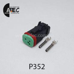 Автомобильный разъём герметичный гнездовой 2-х контактный аналог DEUTSCH DT06-2S-EP06