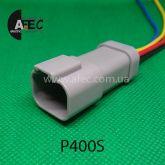 Авто разъём герметичный штыревой 4-х контактный аналог DEUTSCH DT04-4P с проводом