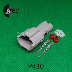 Автомобильный разъём герметичный штыревой 2-х контактный серии 2,0 мм аналог YAZAKI  7222-1424-40 7222-1424-30