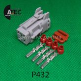 Автомобильный разъём герметичный гнездовой 4-х контактный серии 2,0 мм аналог YAZAKI 7123-7444-30 7123-7444-40