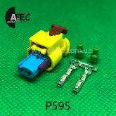 Разъем 2-х контактный гнездовой аналог AMP 3-1718643-4 Volkswagen 4H0 973 323