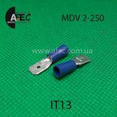Клемма изолированная штыревая (папа) серии 6.3 мм под кабель 1.5-2.5мм2 MDV2-250