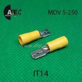 Клемма частично изолированная штыревая (папа)  серии 6.3 мм под кабель 4-6мм MDV5-250