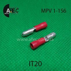 Клемма частично изолированная штыревая (папа)  серии d4 мм под кабель 0.5-1,5мм (MPD1-156)