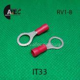 Клемма кольцевая d8мм под кабель 0,5-1,5мм2 RV1-8