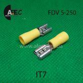 Клемма частично изолированная гнездовая (мама)  серии 6.3 мм под кабель 4-6 мм (FDV5-250)
