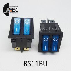 Автомобильный переключатель двойной с подсветкой 35A 12V 6к под отверстие 21*27мм IRS-2101-1C синий