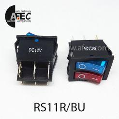 Автомобильный переключатель двойной с подсветкой 35A 12V 6к под отверстие 21*27мм IRS-2101-1C красный/синий