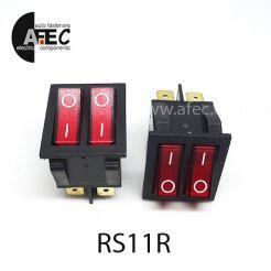 Автомобильный переключатель двойной с подсветкой 35A 12V 6к под отверстие 21*27мм IRS-2101-1C красный