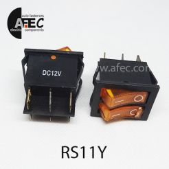 Автомобильный переключатель двойной с подсветкой 35A 12V 6к под отверстие 21*27мм IRS-2101-1C желтый