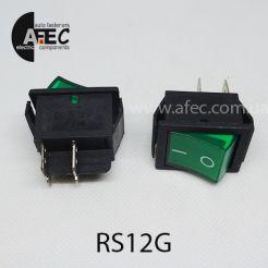 Автомобильный переключатель с подсветкой 35A 12V 6к под отверстие 22*30мм IRS-201-1C зеленый