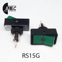 Автомобильный переключатель с подсветкой 20A 12V 3к под отверстие 12мм ASW-11D зеленый