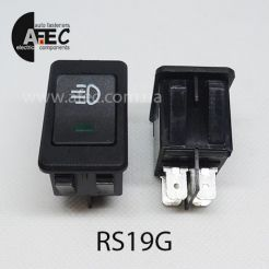 Автомобильный переключатель с подсветкой LED 35A 12V 4к под отверстие 20,2*34,2мм ASW-17D зеленый