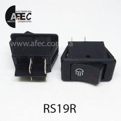 Автомобильный переключатель с подсветкой LED 35A 12V 4к под отверстие 20,2*34,2мм ASW-17D красный