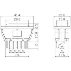 Автомобильная кнопка стеклоподъемника с подсветкой 20A 12V 5к под отверстие 18*40мм ASW-02D красная