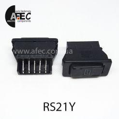 Автомобильная кнопка стеклоподъемника с подсветкой 20A 12V 5к под отверстие 18*40мм ASW-02D желтая