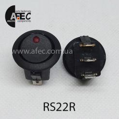 Автомобильный переключатель с подсветкой LED 16A 12V 3к под отверстие 20мм IRS-101E-8C/D красный