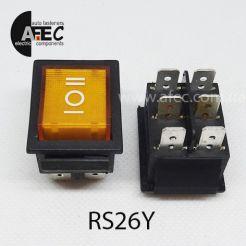 Автомобильный переключатель 35А 12V 6к под отверстие 21,7*28,5мм RS-203-1C желтый