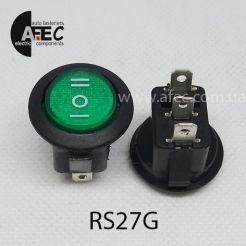 Автомобильный переключатель 35A 12V 3к под отверстие 20мм RS-123-8C зеленый