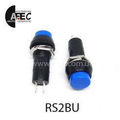 Автомобильная кнопка без фиксации 12V 2к под отверстие 12мм PBS-11B синяя