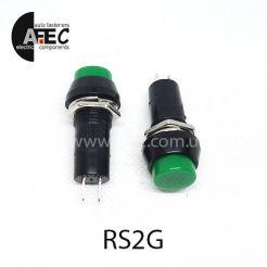 Автомобильная кнопка без фиксации 12V 2к под отверстие 12мм PBS-11B зеленая