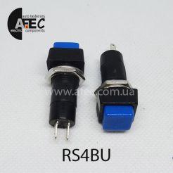Автомобильная кнопка без фиксации 12V 2к под отверстие 12мм PBS-12B синяя