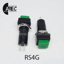 Автомобильная кнопка без фиксации 12V 2к под отверстие 12мм PBS-12B зеленая