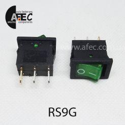 Автомобильный переключатель с подсветкой 15А 12V 3к под отверстие 13*20мм MIRS-101(A)-2 зеленый