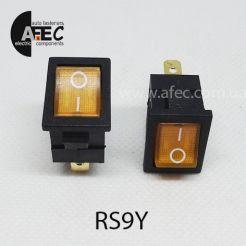 Автомобильный переключатель с подсветкой 15А 12V 3к под отверстие 13*20мм MIRS-101(A)-2 желтый